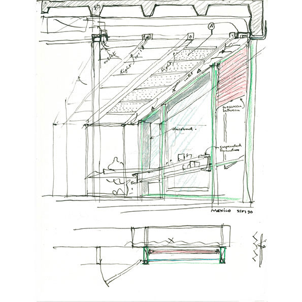 studies of the built-in furniture and technical ceiling